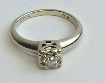 Diamond Solitaire Illusion Set Ring With Open Bezel Vintage Size 4