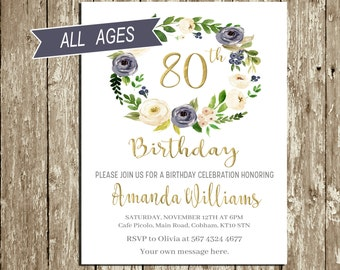 Elegant 80th birthday invitations for a woman sophisticated birthday invitations for woman blue and gold birthday invitation floral birthday invitation 80 year old birthday stopboris Choice Image
