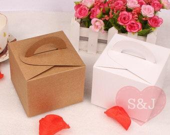 50pc 9.5x9.5x8cm White/Brown Gable Kraft Cardboard cupcake/cake Bomboniere Favour Boxes