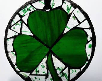 Shamrock Stain Glass Etsy
