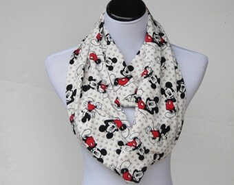 Mouse scarf, infinity scarf for mickey lovers loop scarf, cute mouse scarf white black red - matching scarf for mom and little girl and boy