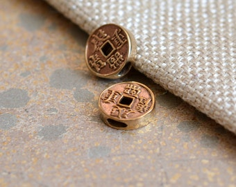 10mm Bronze Ancient Chinese Coin Beads,Chinese Coins, Coin Beads, Double Sided,Lucky,Abundance,Chinese Coin Earrings, Bracelets, BS16-1221B
