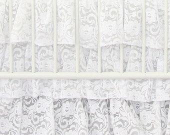 Vintage White Lace Ruffle Crib Skirt | white, Lace, Vintage, Sweet, Ruffled Baby Girl Crib Skirt | White Vintage Baby Girl Crib Bedding Set