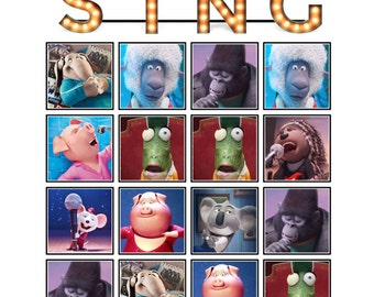 SING MOVIE theme BINGO Birthday Party Game -  30 cards - Plus Matching Game  Instant Digital Download