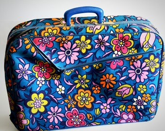 Vintage Suitcase Floral Blue and Pink, Overnight Bag, Luggage, Retro Travel, Hippie Bag, Flower Power, Mod Soft Sided Suitcase