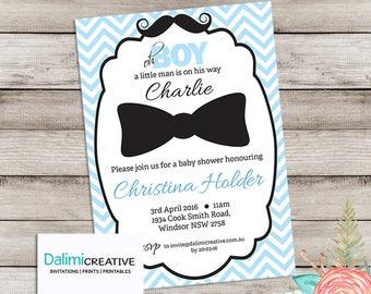 Baby Shower Invitation - Mustache Invitation - Blue invitation - Printable Invitation - Bow Tie Invite - Personalised - Digital File!