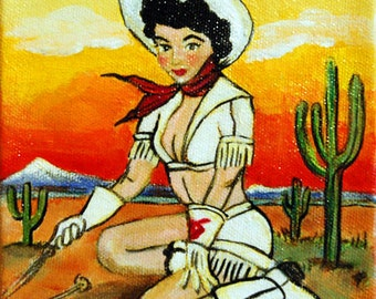Original Painting Cowgirl Pinup by Campfire by Shawna June Lee
