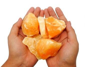 Large Orange Calcite Stone By Piece - Wire Wrapping - jewelry making - Chakra Stone- Reiki - Spiritual - Meditation - (RK48B7)