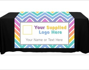 "Full Color Table Runner with Your Logo in a Chevron Style Background - 48"" x 80"""