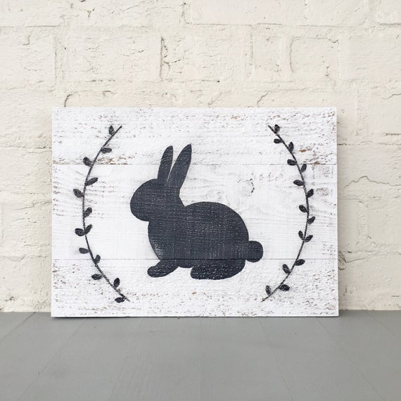 Bunny Rabbit Hand Painted Wood Sign