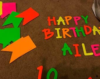Neon birthday banner