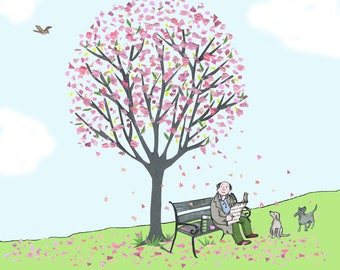BLISSFUL BLOSSOM .A lovely gentle card  showing a man  sitting on a park bench beneath a tree of pink blossom ..Great card for any occasion.