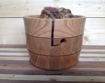 Handmade Wood Yarn Bowl crafted from Oak- 17YBOA005