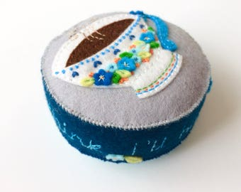 wool felt tea cup or coffee cup pincushion with hand embroidery