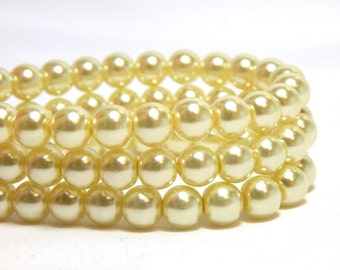 6mm Yellow Glass Pearls, 6mm Yellow Beads, LIght Yellow Beads, Pale Yellow Pearls,  Yellow Glass Pearls, Glass Pearls, T-94D