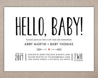 HELLO BABY - Printable Sip and See Invitation, Modern Baby Shower Invitation, Simple Baby Shower Invitation, Baby Meet and Greet Invitation