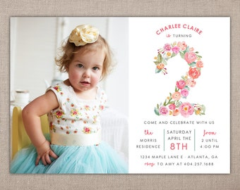 BIRTHDAY PARTY - Printable Invitation, Shabby Chic, Vintage, 2 Year Old, 2nd Birthday Party, Watercolor Floral Numbers Invitation, Two Years