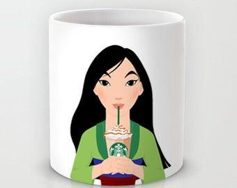 Personalized mug cup designed PinkMugNY - I love Starbucks - Mulan (Disney Princess)