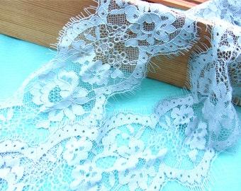 ice blue Lace Trim, fog blue Lace, Chantilly Lace, Bridal gown lace, Wedding Lace, Garter lace, Evening dress lace, Lingerie Lace
