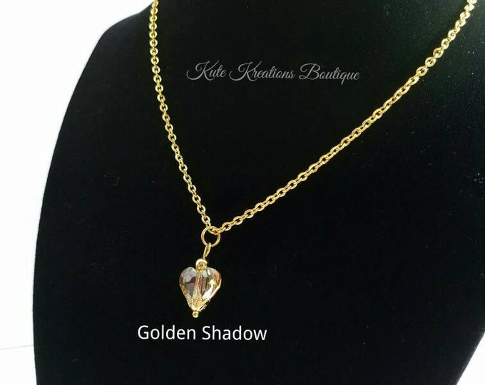 Valentines Necklace, Crystal Heart Necklace, Valentine Heart Necklace. Stainless Steel.