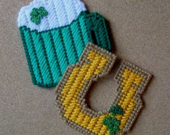 Plastic Canvas: Luck of the Irish Magnets (set of 2 -- horseshoe and green ale)