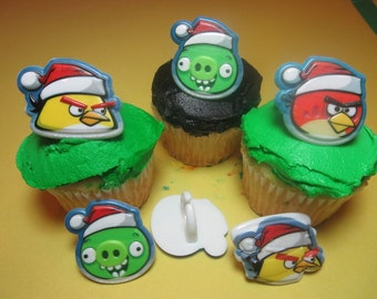 12 Angry Birds Christmas Cupcake Rings Toppers Party Favors Decorations