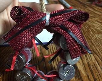 Black/red combo shotgun shell wreath ornament