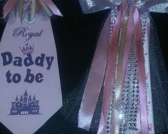 Princess Mommy and Daddy baby shower corsage and Tie