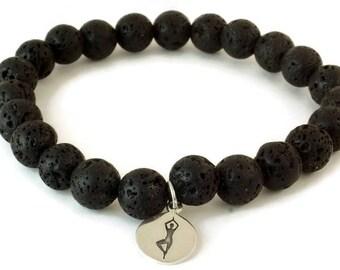 Lava Bead Bracelet,  Yoga Pose Bracelet, Black Bracelet, Beaded Bracelet, Lava Rock  Bracelet, Essential oil bracelet, Diffuser Bracelet