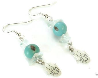 Yoga Earrings, Yoga Sitting position, Meditation position, Sterling Silver Earrings, Hamsa Earrings, Acai bead earrings, Yin Yang earrings