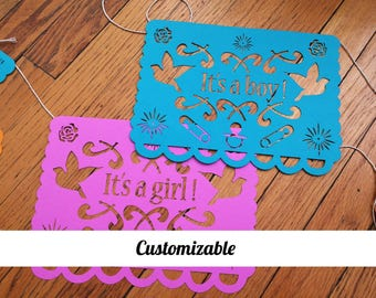 Baby Shower Papel Picado - With name
