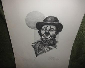 Clown Litho Print by Toni Santo Regis 1979 B/W