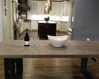 Weathered Gray Industrial Farmhouse Dining Table