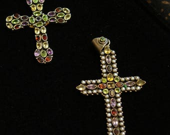 Christian Cross with semi precious stones
