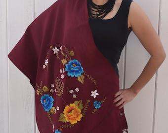 Burgundy Flower Embroidered Shawl or Rebozo