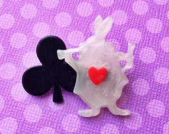 "Handmade ""White Rabbit"" Dainty Rabbit and Clover Pin - Alice in Wonderland"