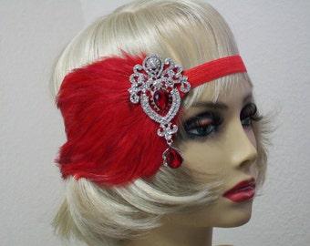 Red 1920s headband, Great Gatsby headpiece, Flapper headpiece, Gatsby headband, Valentines Day, Feather headband, 1920s hair accessory