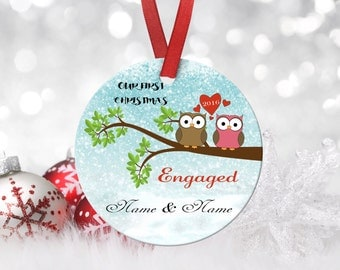 Christmas Engagement Ornament,Housewarming,Ornament,Christmas,Custom Ornament,Personalized Ornament,Gifts for her,Porcelain Ornament,