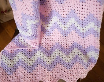 Crochet Baby Blanket-  Purple and Pink - Chevron - Crochet Baby Afghan