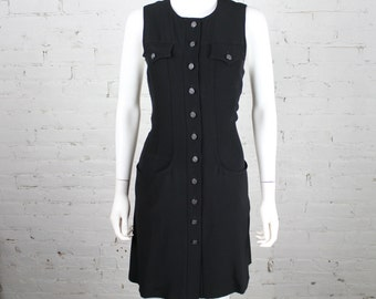 1990s Christian LaCroix Dress black shift sheath sleeveless military inspired 42