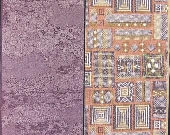 Vintage kimono silk fabric-2 pcs #7418