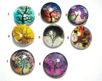 1pc 18mm Silver Tone Tree Glass Snap Buttons Charms Knob Size 5~5.5mm