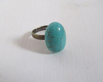 Türkis Howlith vintage Bronze Ring verstellbar schlicht Bohemian Style