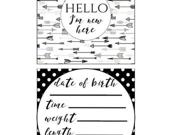 Black & White Preemie NICU Milestone Cards and a no touching sign (ALL LAMINATED)