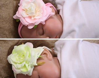 Baby Flower Headband, Baby Headband, Newborn Headband, Floral Headband, Infant Headband, Photo Prop, baby girl headband