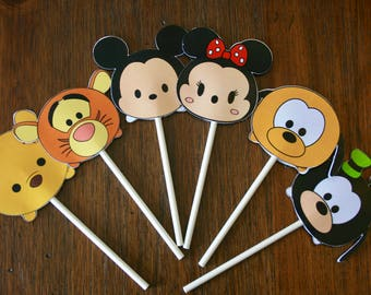 12 Personalized Disney Inspired Tsum Tsum Inspired Cupcake Toppers, Food Picks or Party Decorations