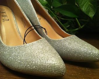 N.W.D. High Heel Silver Glitters Wedding Shoes Size EUR 37-38 /US 7 /UK 5 Never Worn