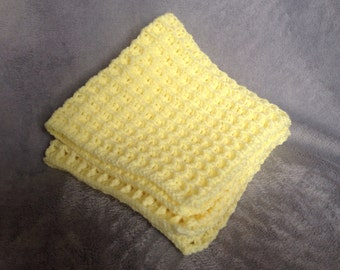 Yellow Waffle Baby Blanket