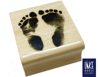 BABY Foot Print or Hand Print Rubber Stamps. Baby Feet Stamper. Baby Bootie Rubber Stamp.