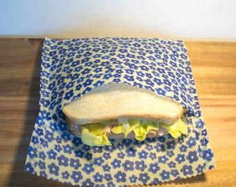Reusable Beeswax Sandwich Bag in Blue Flower Print